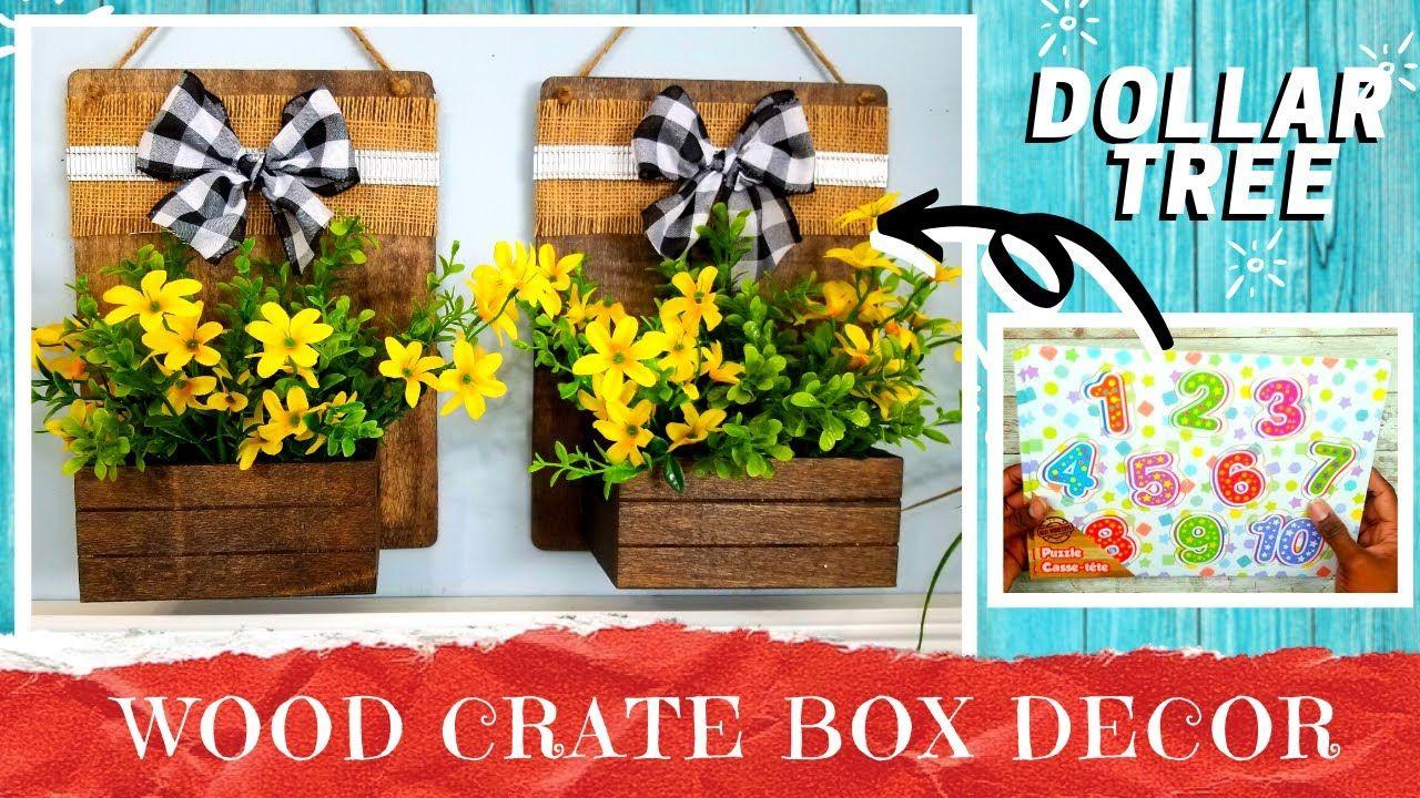 Diy dollar tree wood crate box wall decor rustic
