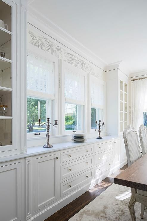 Breakfast Room Buffet Made From Kitchen Cabinets With Window Above