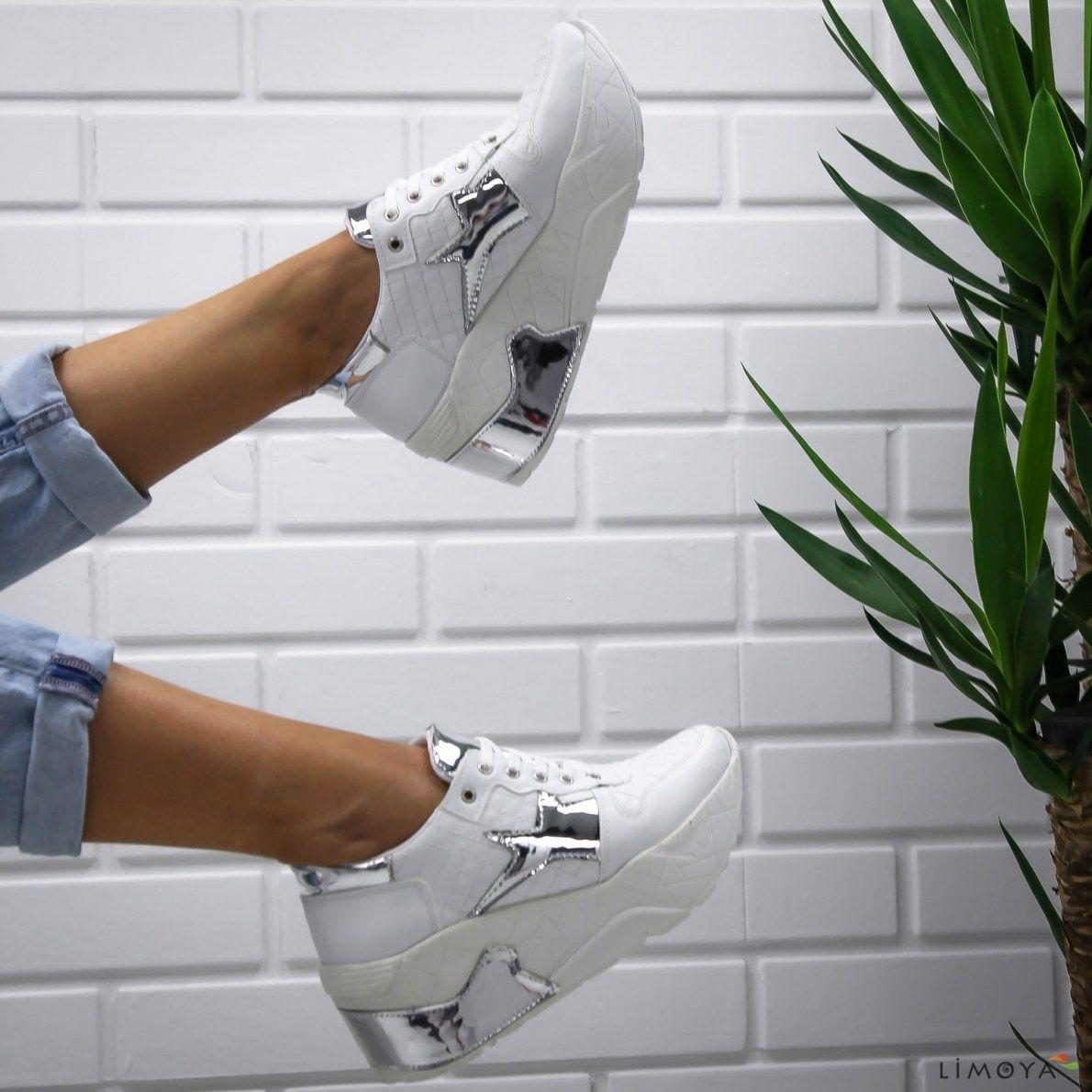 Limoya York Beyaz Yuksek Topuklu Spor Ayakkabi Gunluk Ayakkabi Limoya Topuklular Bayan Ayakkabi Sneaker