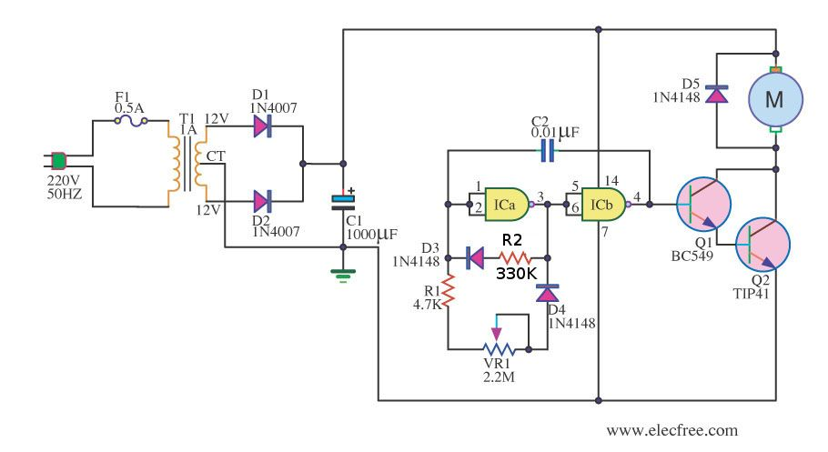 Simple pwm motor control circuit using ic 4011 for Motor speed control pwm