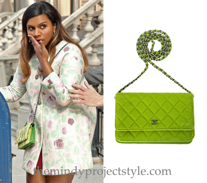 10c4a5e1a95f Mindy s added another Chanel bag to her collection! We ll see this lime  green velvet quilted WOC in