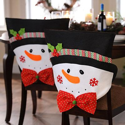 Snowman Chair Cover With Hat Made White Pillow Cases