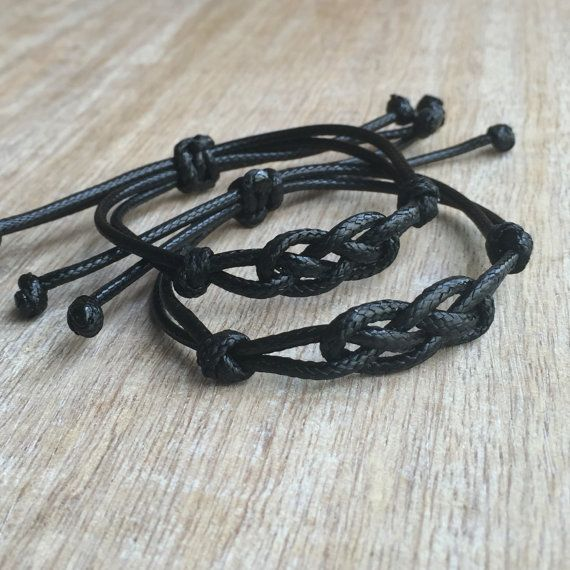 Black Knot Matching bracelets These lovely couple bracelets are made of waxed cord. Both bracelets are adjustable Includes Gift Box + 2 Bracelets Please feel free to contact me if you have any questions These bracelet will be shipped by USPS First Class as soon as the payment is been