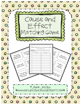 Here is a fun and engaging cause and effect matching game! This activity can be used as a whole or small group reading lesson. It could also be use...