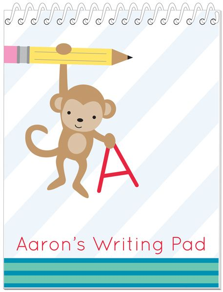 Hanging Monkey Penmanship Book - fun way for kids to practive their letters, especially since it is personalized with their name.