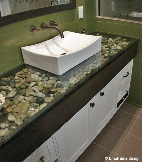 Bathroom Ideas---river Rock Under Glass Countertop. #kitchentuneupventura #bathroom Remodel