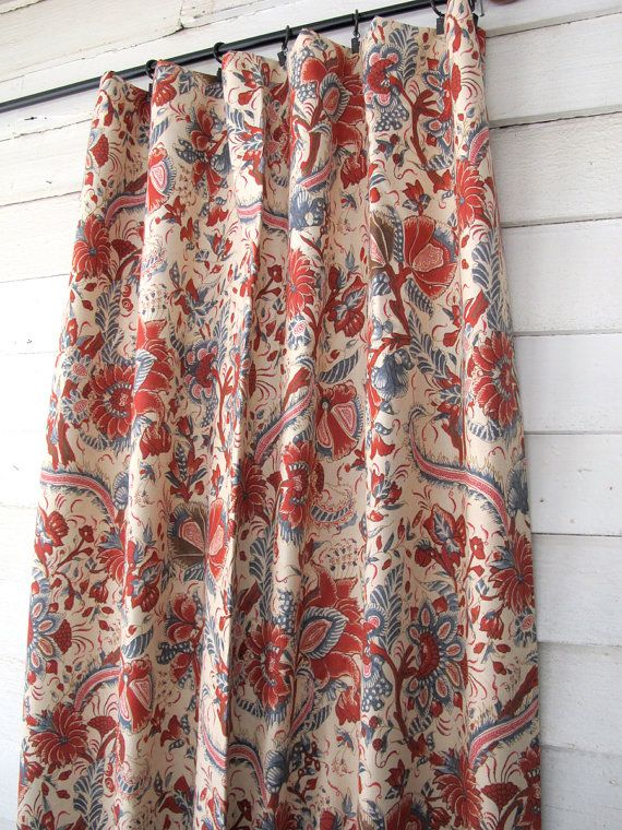 Red Blue Drapes Lined Unlined Colonial Jacobean By