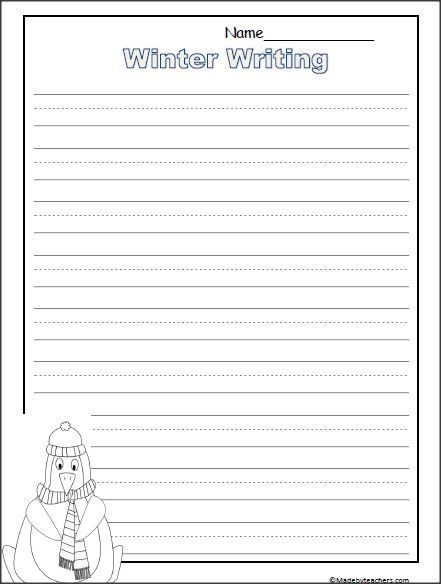 This is a set of 4 free penguin writing templates for winter You - Print College Ruled Paper