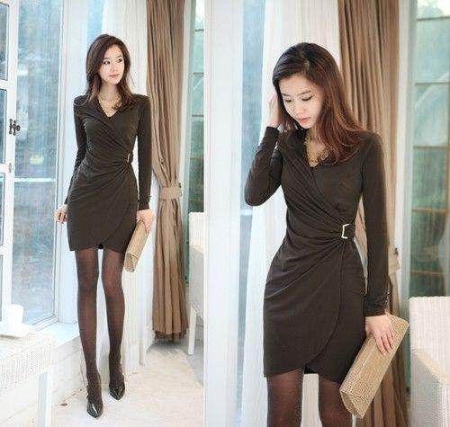 Korean Fashion Sexy Slim Womens V Neck Elegant Belt Long Sleeve OL Dress  8b3c9083977e
