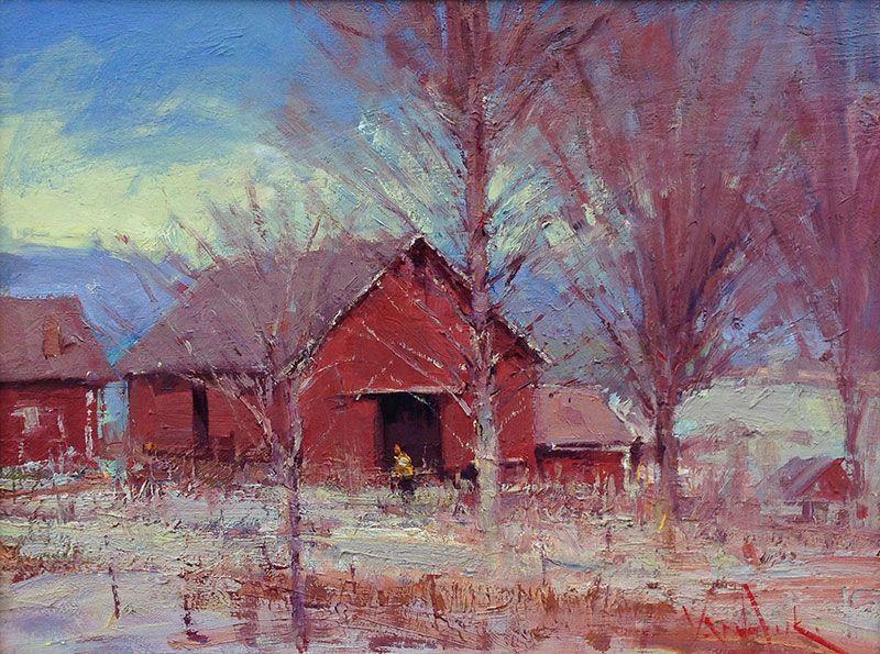 """""""Barns in Snow"""" George Van Hook - The Harrison Gallery www.theharrisongallery.com"""