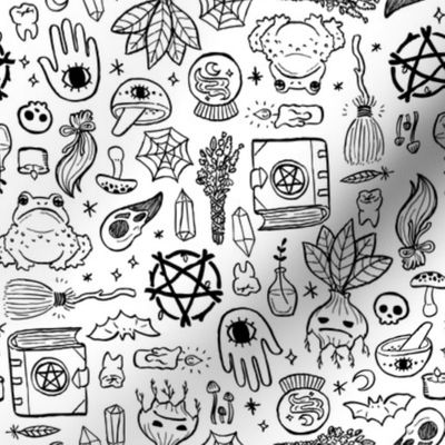 Colorful fabrics digitally printed by Spoonflower - Witchy Objects