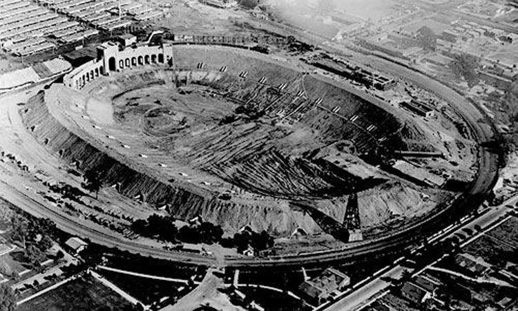 1922 photo of L.A. Coliseum being built. (With images