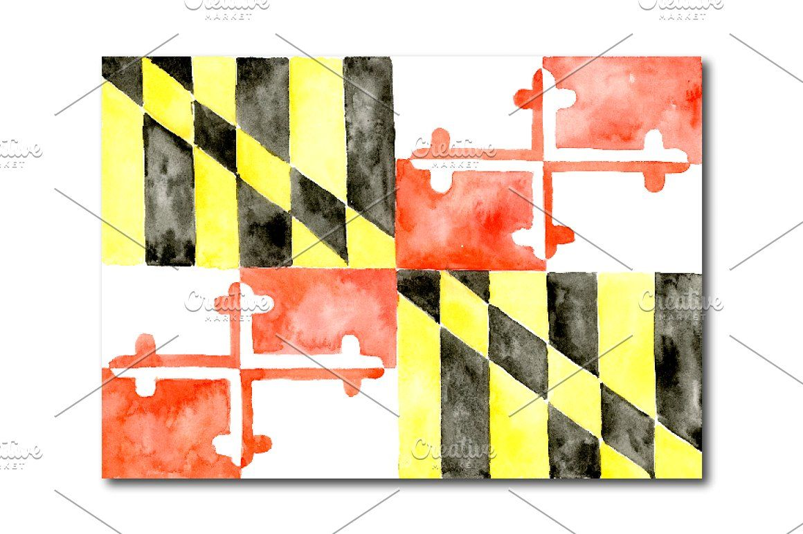 Watercolor Maryland Flag Clipart Clip Art Hand Drawn Painted State