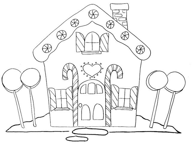 gingerbread house  house colouring pages candy coloring