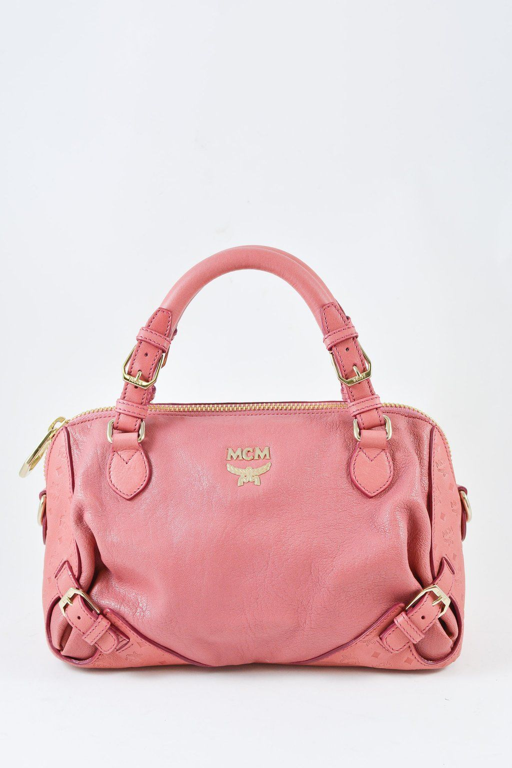 27573e1d1f0 MCM Small Pink Top Handle Bag. Small pink leather and gold-tone hardware bag