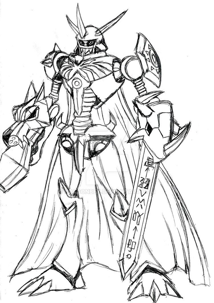 Omnimon Google Search Digimon Humanoid Sketch Art