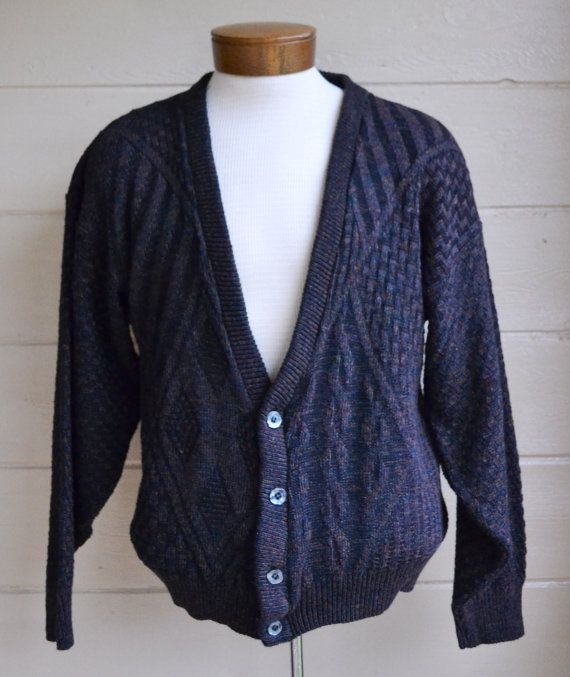 Vintage Men's Button Down Cardigan Sweater Grandpa Sweater by ...