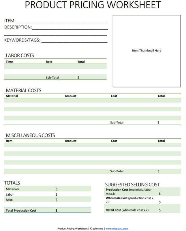 Product Pricing Worksheet Img Product Pricing Worksheet Things