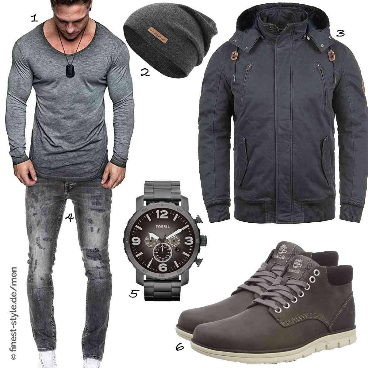 Outfit für Männer mit Teilen von Fossil, Blend, urban air