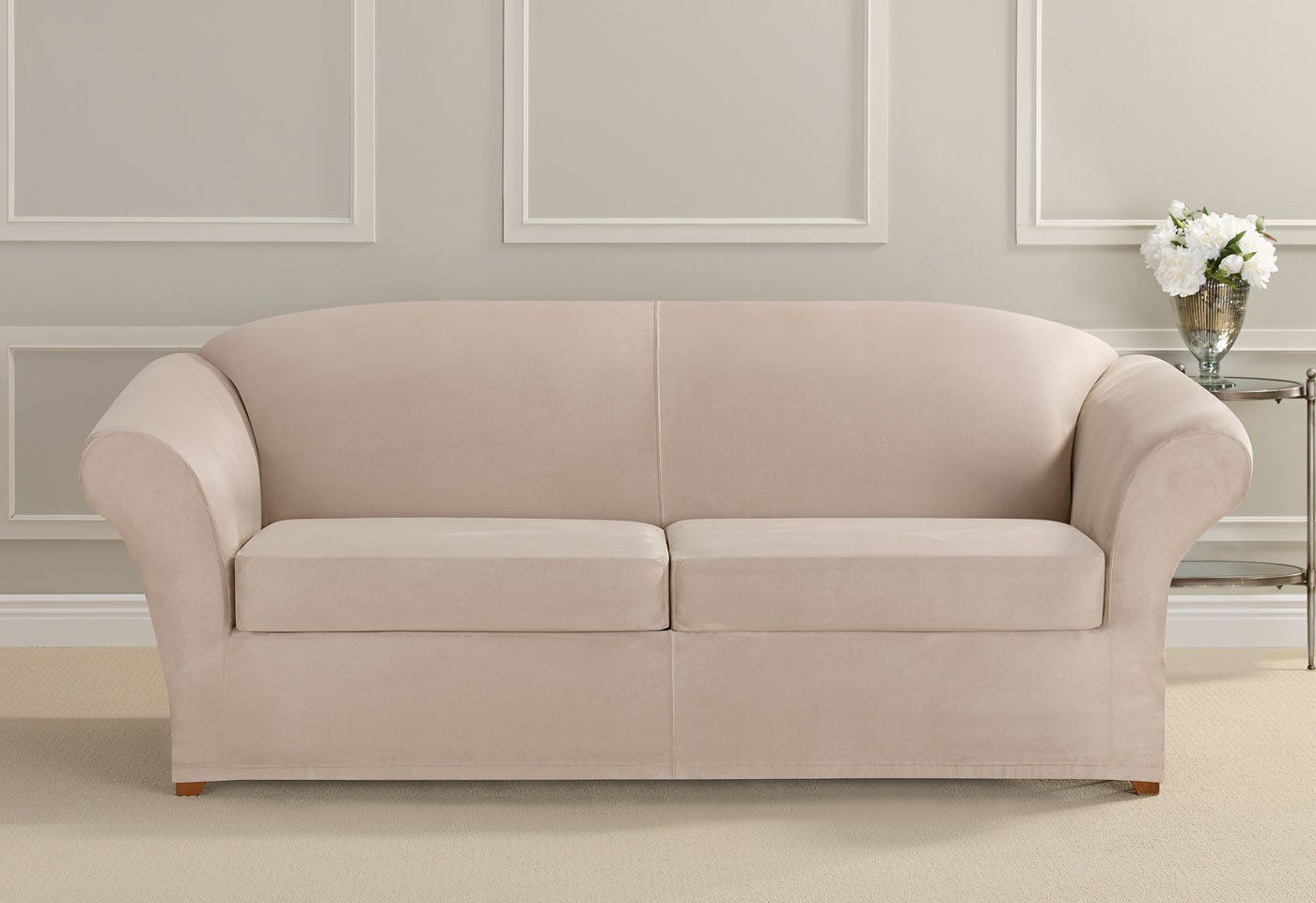 SURE FIT Ultimate Heavyweight Stretch Suede Individual Cushion Loveseat Slipcover Slate Gray