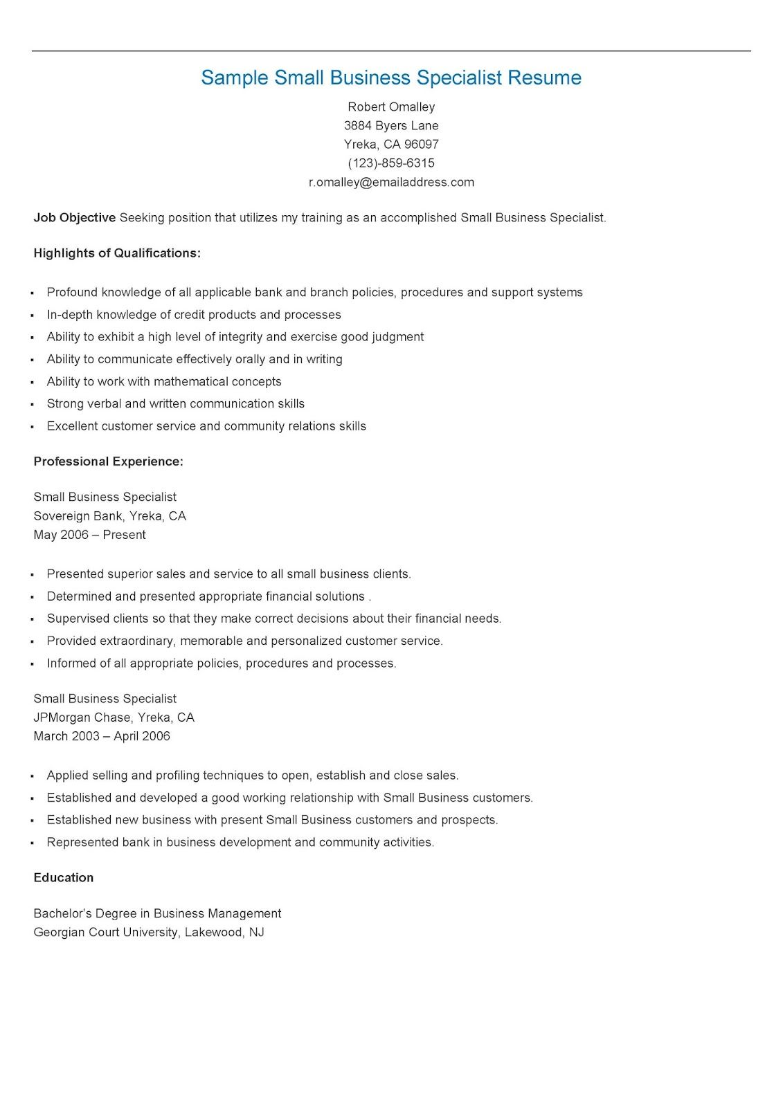 Sample Small Business Specialist Resume Resame Pinterest