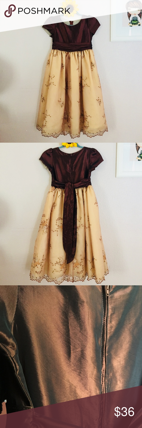 Melody kids formal fall brown flower girl dress in my posh