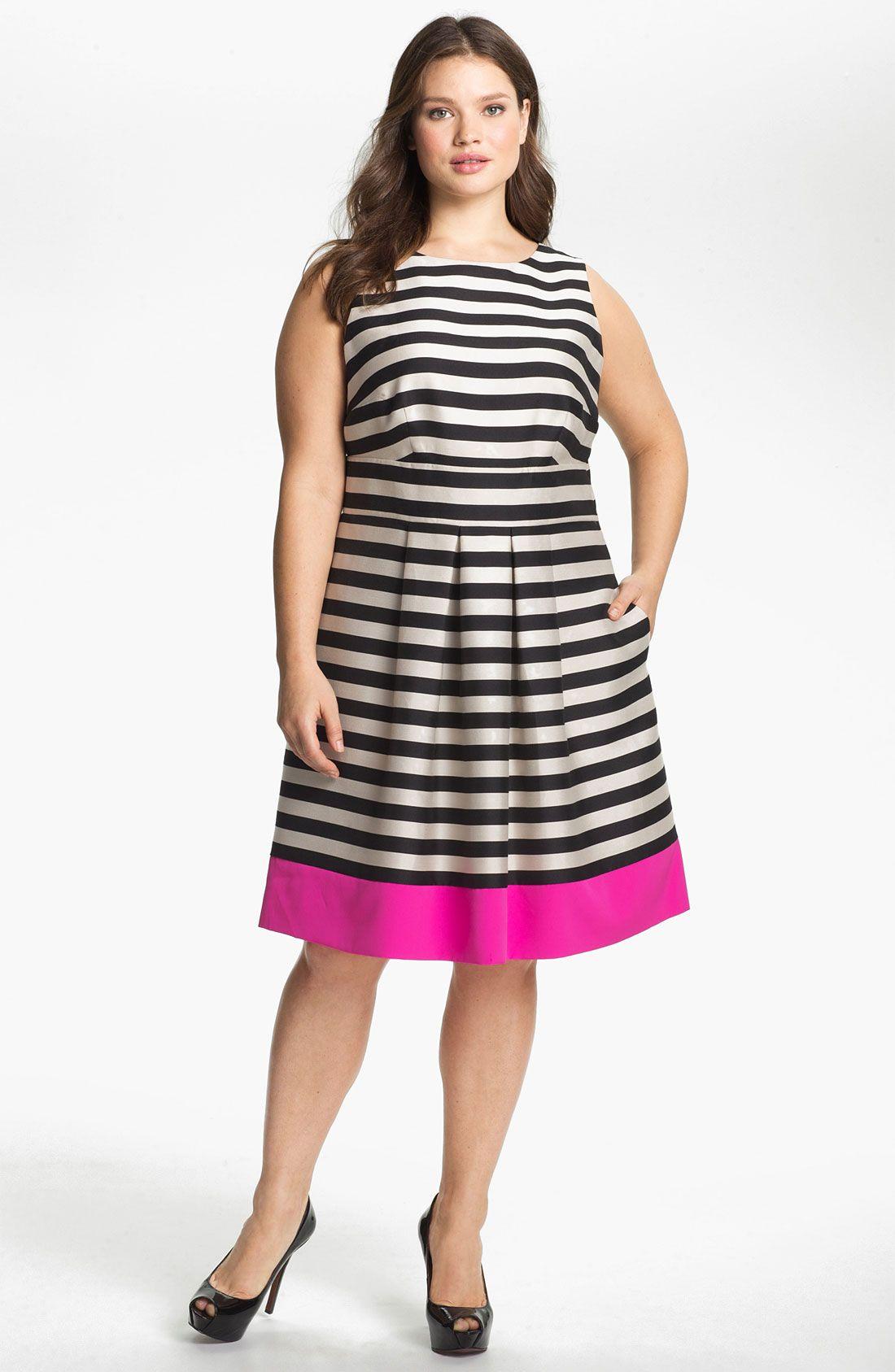 cfc5cd0e98 Eliza J Stripe Fit   Flare Dress (Plus Size)