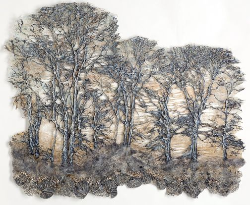 Distant Forest 5 by Leslie Richmond. Cotton/silk fabric, heat reactive base, metal patinas