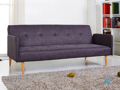 canape clic clac tissu 2 places pieds bois design lauretta gris fonce