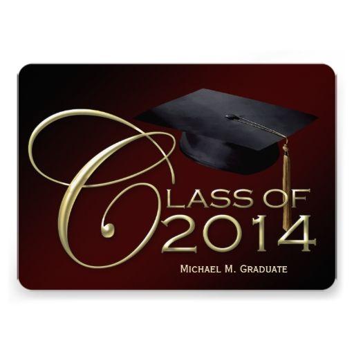 fancy class of 2014 maroon graduation announcement 2018 graduation