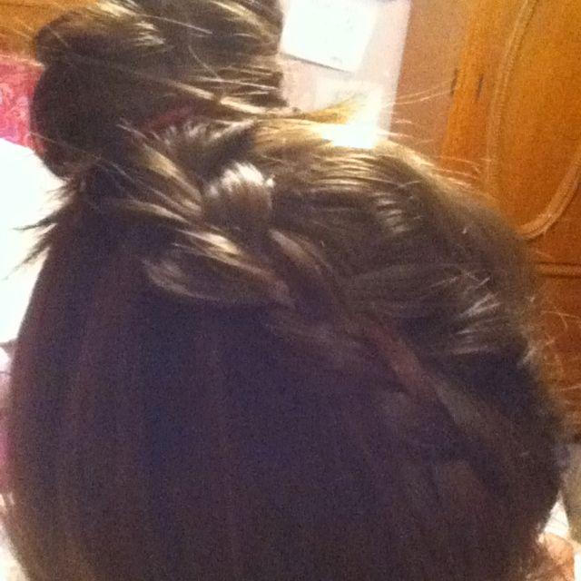 Diagonal Dutch braided bun=)