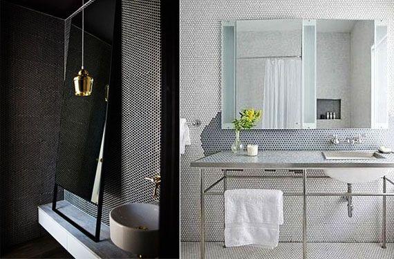 Azulejos de mosaico hexagonal para decorar tu cuarto de baño