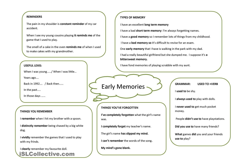 Early Memories English Lesson Plans Memories Trinity 7