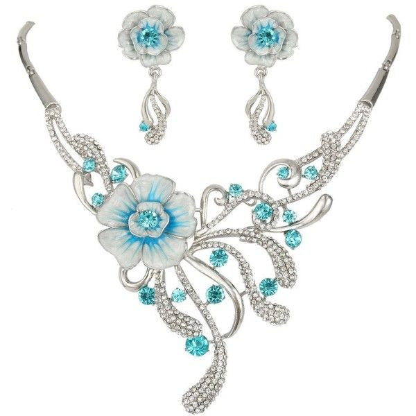 EVER FAITH Austrian Crystal Enamel Spring Hibiscus Flower Jewelry Set ($25) ❤ liked on Polyvore featuring jewelry, enamel jewelry, blue jewelry set, blue enamel jewelry, blossom jewelry and flower jewelry