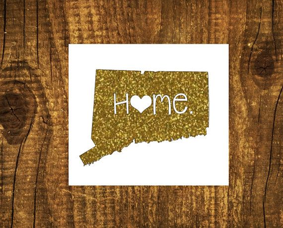 GLITTER Connecticut Home Decal  Connecticut by MMVinylCreations