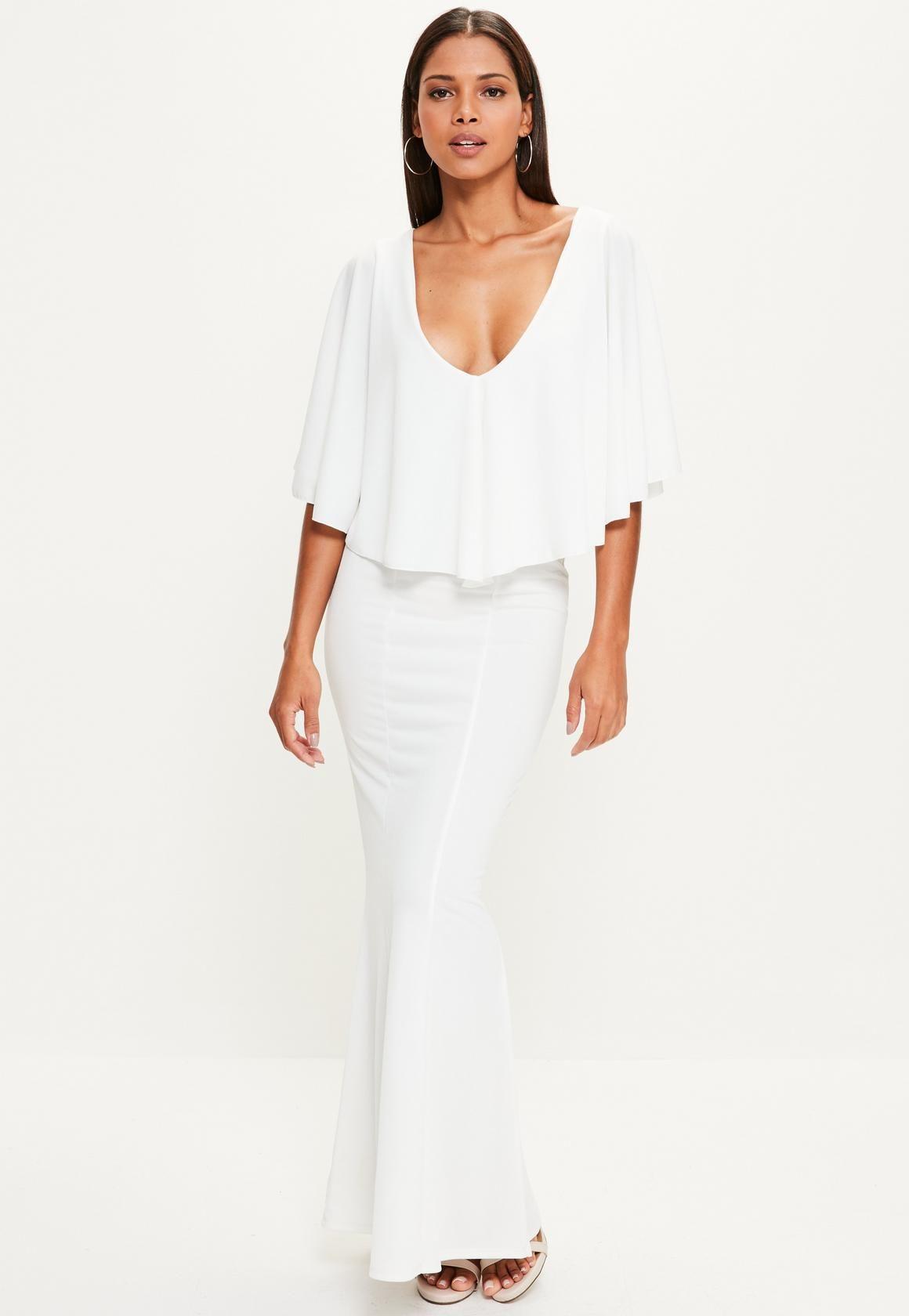 Missguided Vestido largo con sobre capa en blanco