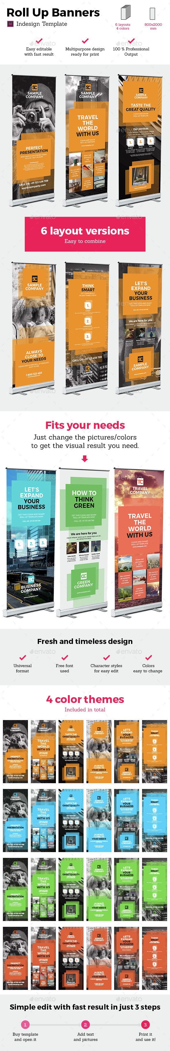 Square Style Rollup Stand Banner Display 24x InDesign and Photoshop ...