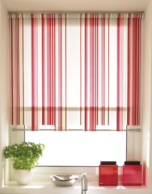 White Roller Shade With Red And Pink Stripes Kitchen