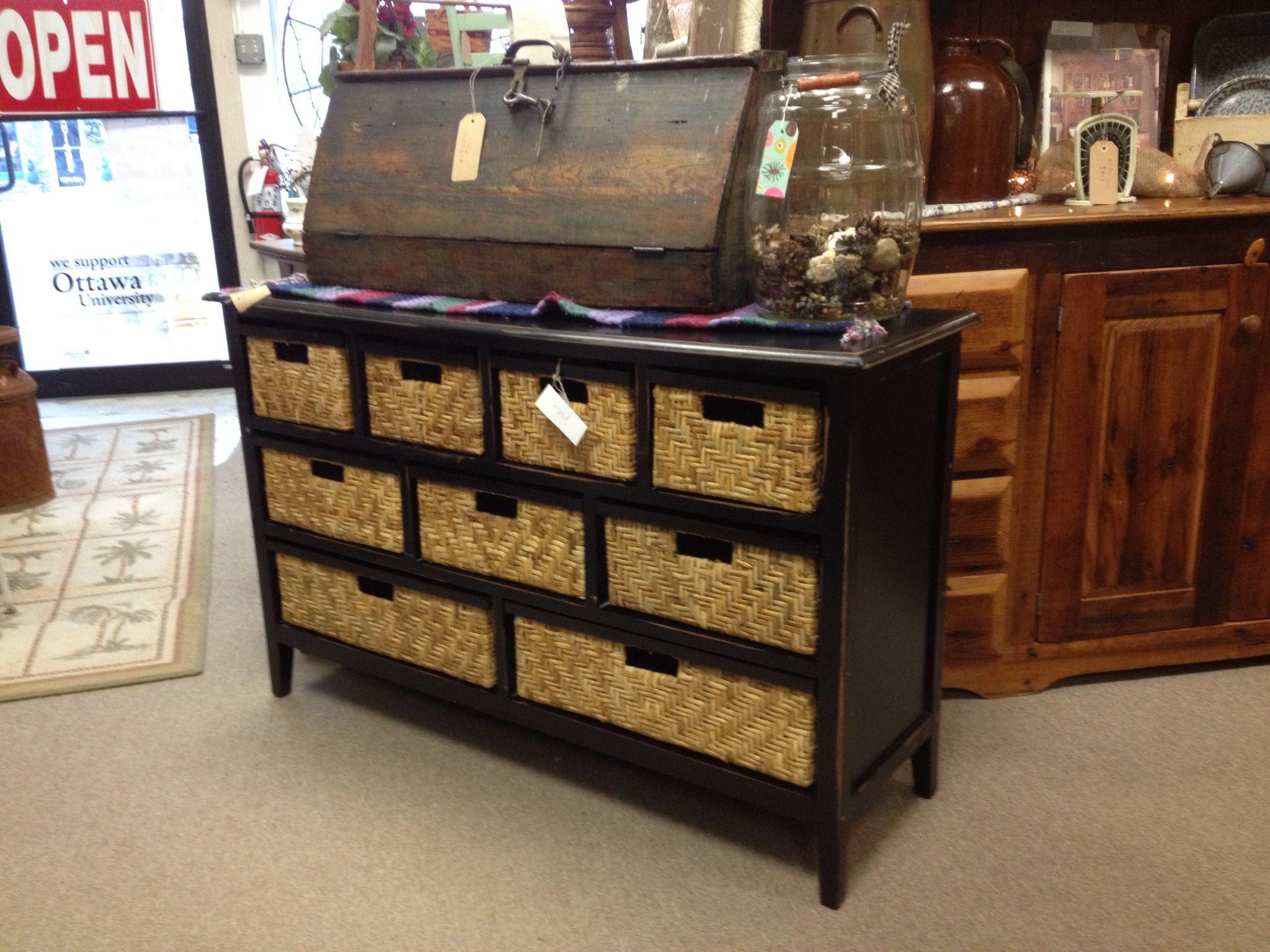 Black dresser with basket drawers