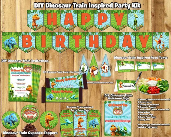 this download is a complete dinosaur train birthday party pack, Birthday invitations