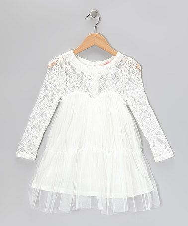 Take a look at this Off-White Lace Sweetheart Dress - Toddler & Girls by Paulinie on #zulily today!