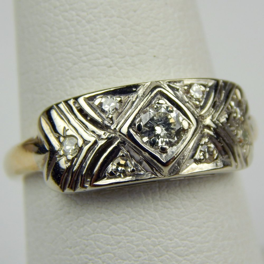 Diamond Open Work Cluster Geometric Half Band Ring 14 kt Gold Size 7 1/4