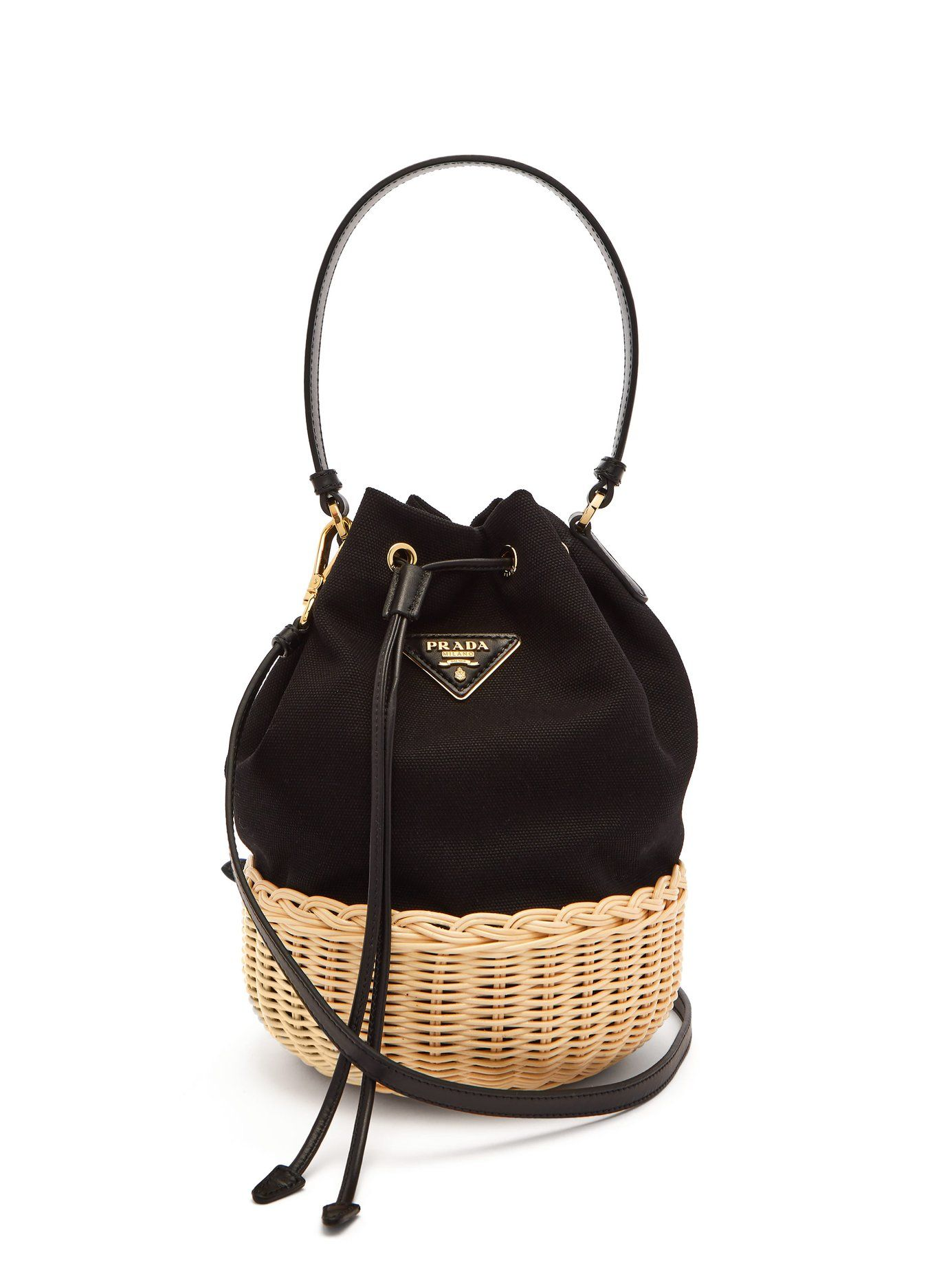 18c4ca7c5cdb Canvas and woven straw bucket bag