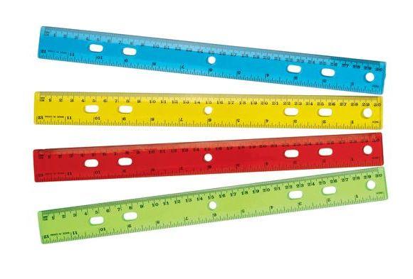 """12"""" Standard & Metric Plastic Ruler - Set of 12 = $4.49"""