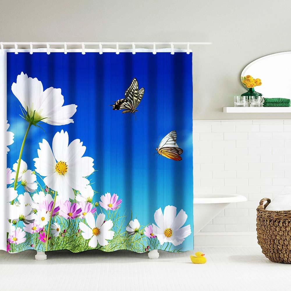 Custom Printed Flowers And Butterflies Water Resistant And Mildew Proof Shower Curtain Includes S Bathroom Shower Curtains Shower Curtain Shower Curtain Sizes