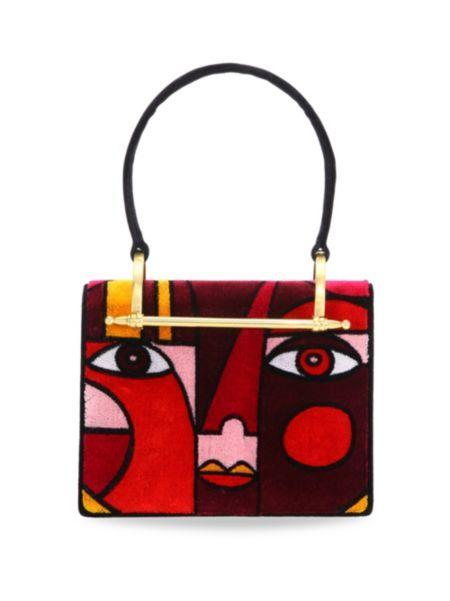 fca48ddd1e8d Prada - Abstract Velvet Top Handle Bag   bags, belts, hats and ...