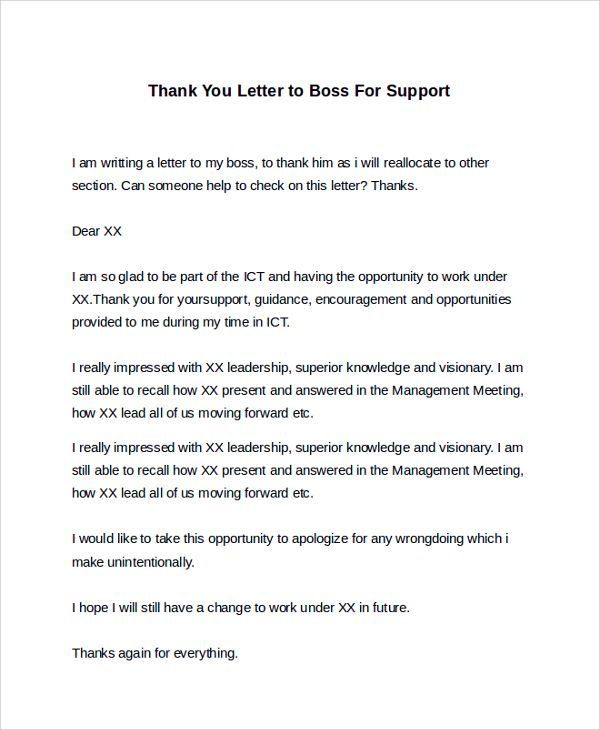 Sample Thank You Letter To Boss 16 Free Documents Download In