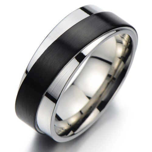 Unique Men Band Ring Promise Stainless Steel Swirly Layer Design Silver Black Twotone 20a