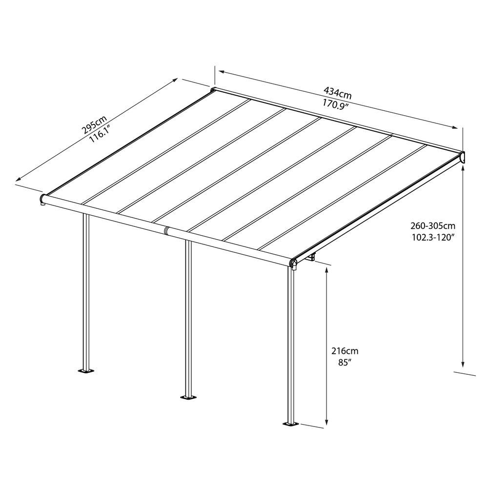 Palram Sierra 10 Ft X 14 Ft Gray Bronze Patio Cover Awning