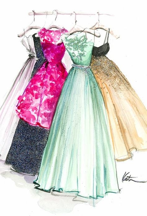 illustration of hand made designer dresses G.L.A.M fashion ...